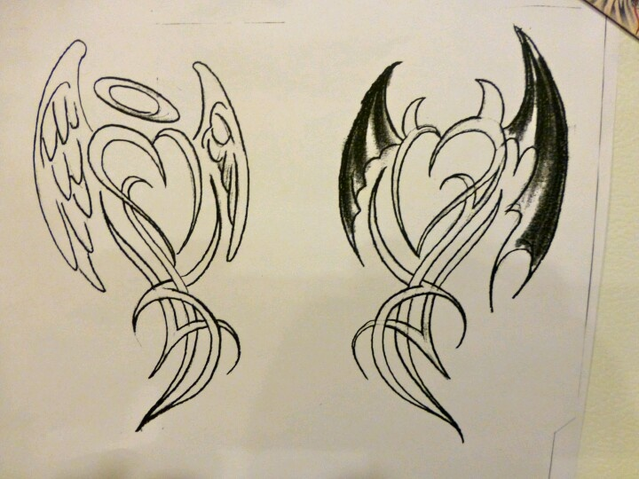 100's of Angel and Devil Tattoo Design Ideas Pictures Gallery