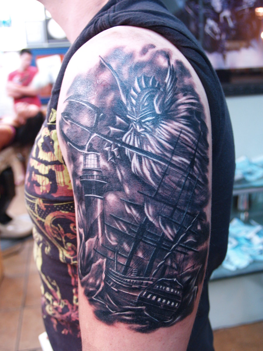 poseidon tattoo tattoos mermaid greek gods deviantart bryansyme designs sleeve badass cool madscar half traditional reply griechische gemerkt von discover