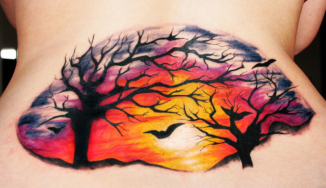 100's of Sunset Tattoo Design Ideas Pictures Gallery