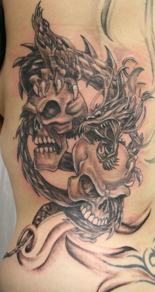 100's of Dragon Skull Tattoo Design Ideas Pictures Gallery