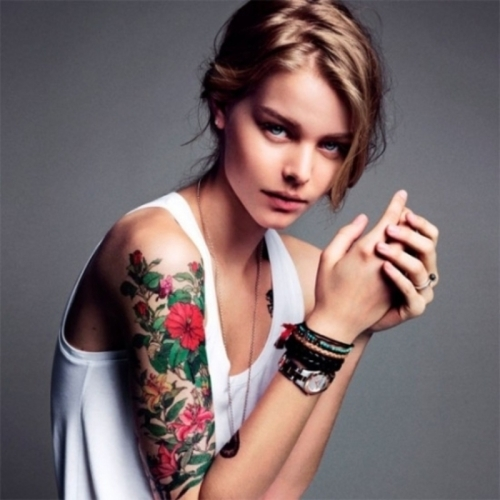 100's of Girls Sleeve Tattoo Design Ideas Pictures Gallery