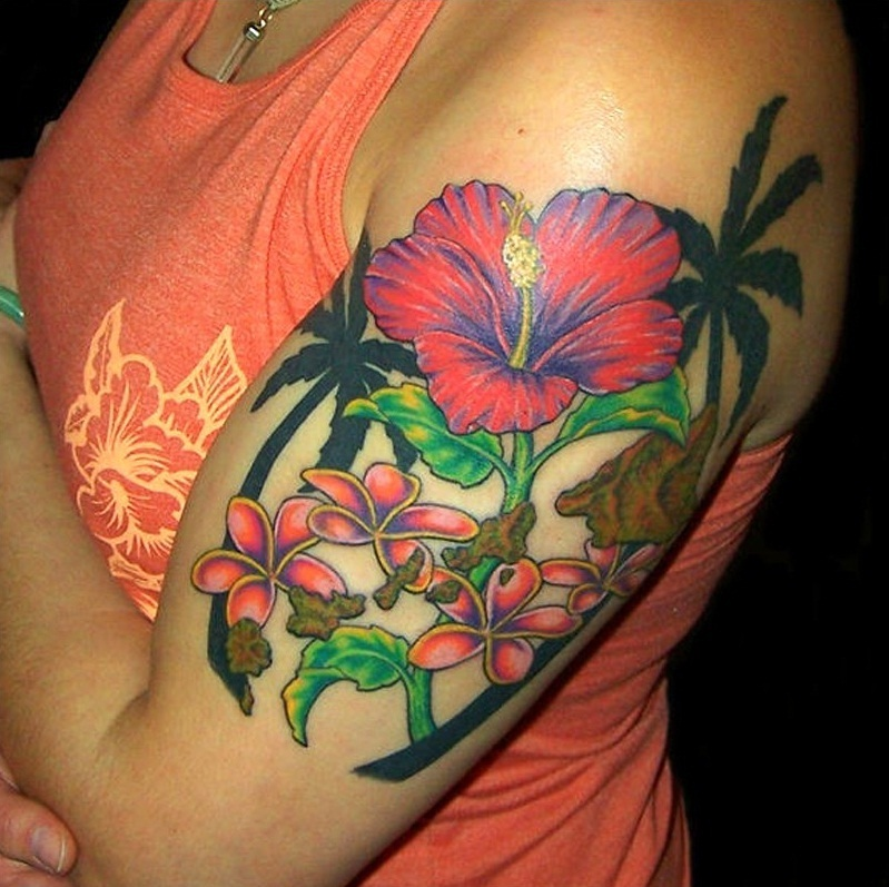 100's of Hawaiian Flower Tattoo Design Ideas Pictures Gallery