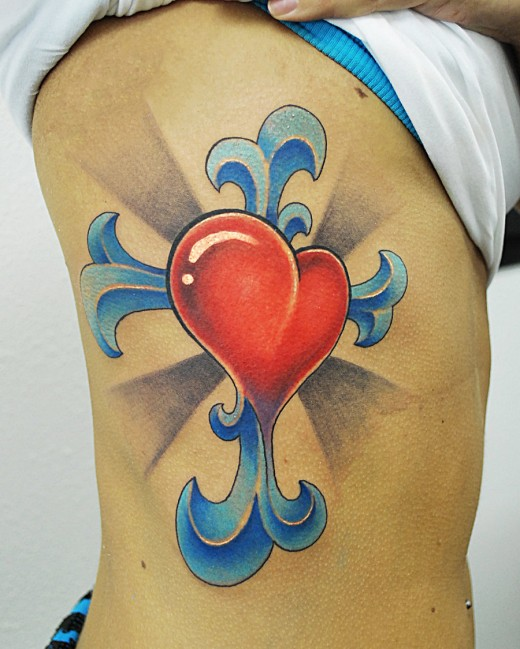 100's of Heart Cross Tattoo Design Ideas Pictures Gallery