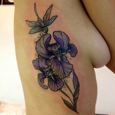 Purple Iris Tattoo Designs