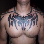 Tribal Chest Tattoo7 150x150 - 100's of Chest Tattoo Design Ideas Picture Gallery