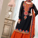 1706001 anarkali black orange net salwar kameez 150x150 - Anarkali Salwar kameez Design Ideas Pictures Gallery