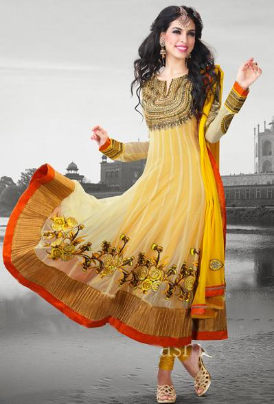 25038 indian yellow anarkali salwar kameez at low cost - Anarkali Salwar kameez Design Ideas Pictures Gallery