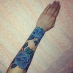 Blue flowers arm tattoo 150x150 - Blue tattoos Tattoos Design Ideas Pictures Gallery