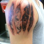 White vs Black Wolf Tattoo 150x150 - Wolf Tattoos Design Ideas Pictures Gallery