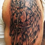 amazing angel warrior tattoo on biceps 150x150 - Warrior Tattoos Design Ideas Pictures Gallery