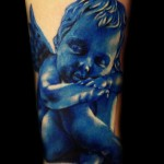 blue ink baby angel tattoo design 150x150 - Blue tattoos Tattoos Design Ideas Pictures Gallery