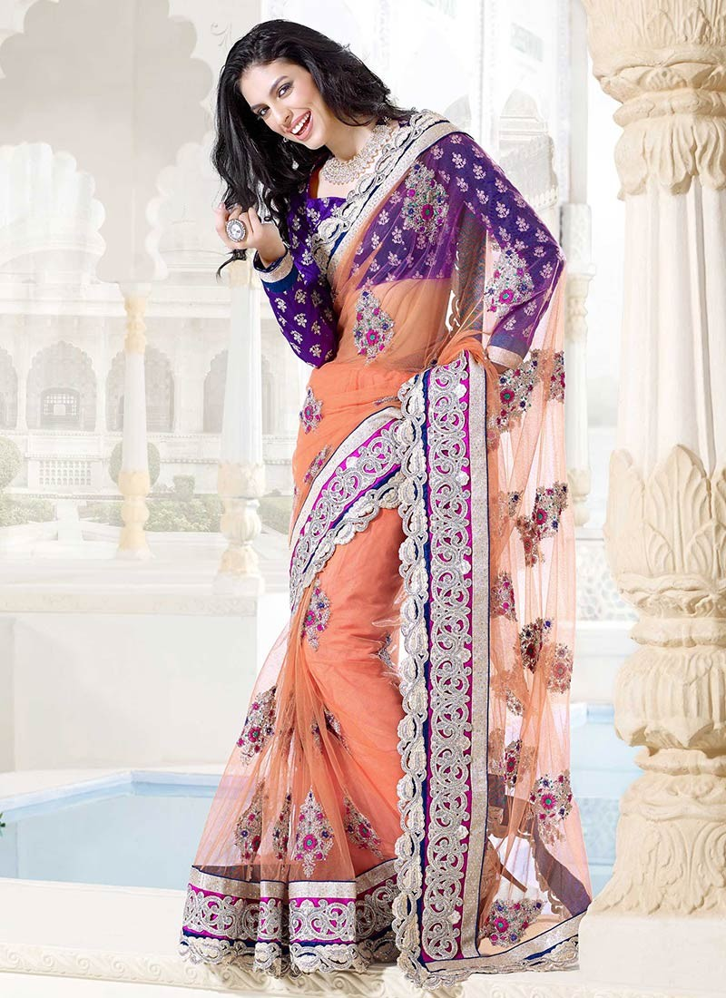 fascinating peach color net embroidred saree 800x1100 - Banarasi Saree Design Ideas Pictures Gallery