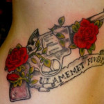 Gun And Roses Tattoos 150x150 - 100's of Rose Tattoo Design Ideas Picture Gallery