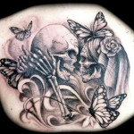 Skull couple Tattoo 150x150 - 100's of Skull Tattoo Design Ideas Picture Gallery