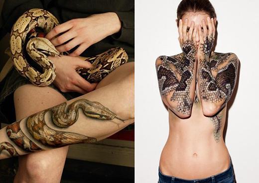 333Татуировка в виде змеи на всю руку