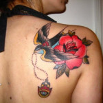 Traditional Rose Tattoo 150x150 - 100's of Rose Tattoo Design Ideas Picture Gallery