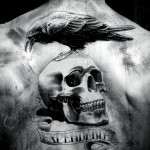 black crow and skull tattoo on man upperback 150x150 - 100's of Skull Tattoo Design Ideas Picture Gallery