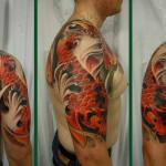 color koi carp half sleeve tattoo 150x150 - 100's of Koi Tattoo Design Ideas Picture Gallery