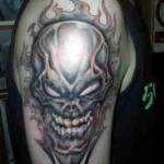 evil skull tattoos for man 150x150 - 100's of Skull Tattoo Design Ideas Picture Gallery