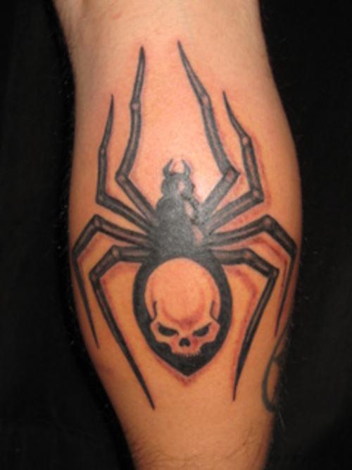 Wicked skull spider tattoo on leg tattoo design ideas - Wicked 3d tattoos ...