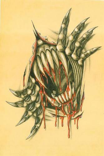 Ripped Skin Alien Tattoo Design
